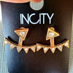 New INCITY Double Sided Rhinestone Earrings.